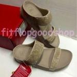 รองเท้า Fitflob New Rockchic สวม สวาลอฟสกี้ สีครีม No.FF429