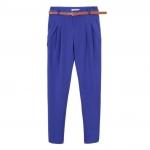 Pre order กางเกงทำงาน กางเกงลำลอง กางเกงทรงตรง จับจีบด้านหน้า กางเกงแฟชั่นเกาหลี BIG SIZE สีฟ้า
