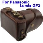 พร้อมส่ง กระเป๋ากล้องหนัง เคสกล้อง Panasonic Lumix GF3 สีน้ำตาล