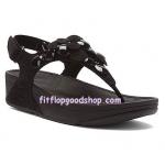 รองเท้า Fitflob Fleur Strap Black ดอกไม้ 5 ดอก รัดส้น สีดำ No.FF266