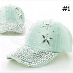 (Pre-order) หมวกเบสบอล ปักหมุดเงิน ปักเพชรอคริลิค ผ้ายีนส์ แฟชั่นหมวกคาวน์บอยเท่ ๆ สีบลูยีนส์ ยีนส์ฟอกสีเขียว