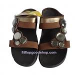รองเท้า Fitflop Lucia Slide สวม (เพชร 5 เม็ด) สีำน้ำตาล  No.FF075