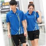 Pre-order ชุดกีฬา ชุดออกกำลังกาย เสื้อแขนสั้นคอปกสีฟ้า กางเกงขาสั้นสีดำ ชุดทีม ชาย-หญิง