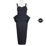 Pre-order ชุดเดรสกระโปรง เสื้อสายเดี่ยว ผ้าโพลีเอสเตอร์สีดำ แฟชั่นสไตล์ยุโรป-อเมริกา ปี 2015