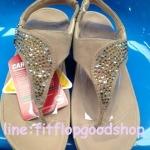 รองเท้า Fitflob Limited รุ่นเพชรกระจายใบไม้ หูหนีบ สีครีม No.FF639