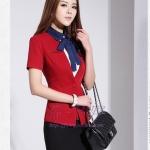Pre-Order ชุดสูทแฟชั่นผู้หญิง ชุดสูทกระโปรง ชุดทำงาน สูททางการ สูทลำลอง ผ้าโพลีเอสเตอร์ แขนสั้น สีแดงสด