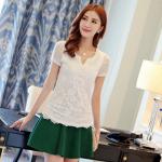 Pre-order เสื้อฤดูร้อนผ้ายืด ทอลูกไม้ คอวี สไตล์แฟชั่นเกาหลีแท้ สีขาว