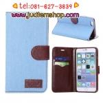 เคสไอโฟน 6 พลัส สีฟ้า แบบฝาพับ ผ้ายีนส์ แถมฟรีฟิล์มกันรอยใส ส่งฟรี EMS