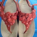 รองเท้า Fitflob Fleur Strap Red  ดอกไม้ 5 ดอก รัดส้น สีแดง No.FF045