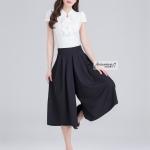 Pre-Order กางเกงขากว้าง กางเกงกระโปรง กางเกงกระโปรงลำลอง ผ้าโพลีเอสเตอร์ผสม สีพื้น สีดำ