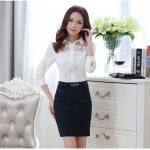 Pre-order เสื้อเชิ้ตชีฟองแขนยาวประดับลูกไม้ที่หน้าดอก เสื้อทำงานแขนยาว แฟชั่นสไตล์เกาหลีปี 2015