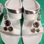 รองเท้า Fitflop Lucia Slide สวม (เพชร 5 เม็ด) สีำขาว No.FF074