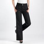(Pre-Order) กางเกงทำงานผ้าลินิน กางเกงสแล็คลินิน ทรงขากระบอกใหญ่ สีดำ