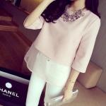 (Pre-Order) เสื้อชีฟองแขนสั้น สีชมพู แฟชั่นเสื้อสไตล์เกาหลีปี 2014