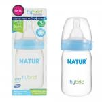 NATUR เนเจอร์ ขวดนม Hybrid รุ่นใหม่ ขวดปากกว้าง ทรงสลิม 4 ออนซ์ BPA Free