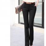 (Pre-Order) กางเกงทำงานผู้หญิง กางเกงขายาว ทรงตรง เอวสูง ผ้าฝ้าย สีดำ