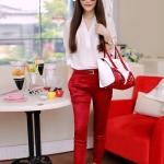 Pre-order ชุดเดรสกางเกงขายาว กางเกงฟุตสีแดง เสื้อผ้าชีฟองสีขาวแขนสามส่วน แฟชั่นเกาหลีปี 2014