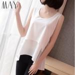 (Pre-Order) เสื้อชีฟองแขนสั้น สีขาว เสื้อผ้าลำลอง สบาย ๆ แต่ดูดีมาก แฟชั่นเสื้อเวอร์ชั่นเกาหลีปี 2014