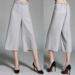 Pre-Order กางเกงผ้าลินิน ขากว้าง กางเกงลำลอง สีเทาอ่อน