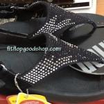รองเท้า Fitflob Flare Sandal เพชรกระจายรัดส้น สีดำ No.FF023