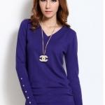 (Pre-Order) เสื้อไหมพรม เสื้อสเวตเตอร์ ถักจากผ้าฝ้ายโพลีเอสเตอร์ไลก้า แฟชั่นเสื้อสไตล์เกาหลี สีม่วง