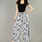 Pre-Order กางเกงผ้าลินินพิมพ์ลาย ขาบาน กางเกงลำลองเหมาะกับฤดูร้อน ลายดอกไม้สีเขียว