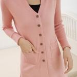(Pre-Order) เสื้อไหมพรมถักจากผ้าขนสัตว์แคชเมียร์ แฟชั่นเสื้อสไตล์เกาหลี สีชมพู