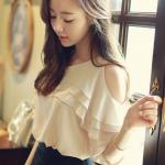 เสื้อแฟชั่น 2015 ฤดูร้อนเวอร์ชั่นเกาหลีใหม่ เสื้อผ้าชีฟอง สีแอพริคอต แขนเปิดไหล่ ระบายคอเป็นชั้นๆ สวยหวานน่ารักมากๆค่ะ