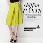 Pre-Order กางเกงขากว้าง กางเกงกระโปรง กางเกงกระโปรงลำลอง ผ้าชีฟอง สีเหลืองมัสตาร์ส