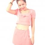 Top Crop : เสื้อครอป แต่งโบว์ + กางเกงกระโปรง ผ้าฮานาโกะ ( Set)