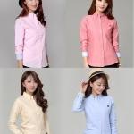 (Pre-Order) เสื้อทำงานแขนยาว เสื้อเชิ้ตแขนยาว ผ้าฝ้ายผสม เสื้อผ้าแฟชั่นเกาหลีปี 2014