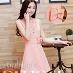 Pre-Order ชุด Sundress ชุดแซคลำลอง เนื้อผ้าผสม สีชมพู แฟชั่นสไตล์เกาหลี ปี 2014