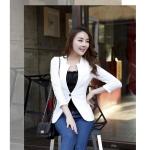 พรีออเดอร์ เสื้อสูทผู้หญิง สูทบาง แขนยาวตัดเย็บผสมผ้าลูกไม้ คอปก สีขาว แฟชั่นสไตล์เกาหลี