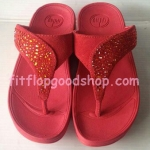 รองเท้า Fitflob Limited รุ่นเพชรกระจายใบไม้ หูหนีบ สีแดง  No.FF351