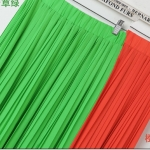 Pre-Order กระโปรงพลีท ผ้าชีฟอง สไตล์โบฮีเมียน ความยาว 50 - 96 cm.สีเขียวอ่อนกับสีส้ม