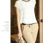HOT SALE เสื้อทำงาน แขนสั้น ผ้าชีฟอง ประดับหมุดเพชร สีขาวและสีดำ