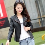 (Pre-order) เสื้อแจ็คเก็ตหนังแท้ เสื้อหนัง เสื้อโค๊ทหนัง เสื้อหนังแกะ แฟชั่นเสื้อหนัง สีดำ
