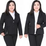 Pre-order ชุดสูททำงานเรียบหรู ชุดสูททำงานแบบกางเกง สาวอวบพิเศษ เสื้อผ้าขนาดใหญ่พิเศษ สีดำ และสีกรมท่า