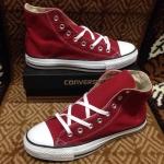 รองเท้าผ้าใบ Converse หุ้มข้อ สีแดงเลือดหมู
