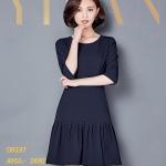 Pre-order ชุดเดรสทำงาน เดรสลำลอง เสื้อแขนสามส่วน ผ้าโพลีเอสเตอร์ผสม เสื้อผ้าสไตล์เกาหลี สีน้ำเงินเข้ม