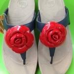 รองเท้า Fitflop Florent ดอกไม้ 1 ดอก ดอกสีแดง/คาดสีน้ำเงิน No.FF059