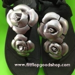 รองเท้า Fitflop Floretta Pewter Black ดอกไม้ 2 ดอก รัดส้น สีบอรนด์เงิน/สีดำ No.FF051