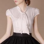 (Pre-Order) เสื้อทำงานแขนสั้น ผ้าโพลีเอสเตอร์ สีเบจ แฟชั่นเกาหลีปี 2014