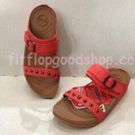 รองเท้า Fitflob New สวม เข็มขัด ปักหมุดเงิน สีแดง No.FF269