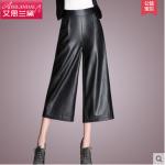 Pre-Order กางเกงหนัง PU ขากว้าง กางเกงหนังขาสามส่วน กางเกงลำลอง หนัง PU คุณภาพดี สีดำ