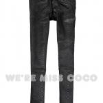 Pre-Order กางเกงยีนส์สีดำ เอวต่ำ ผ้านิ่ม เนื้อบาง ปั้มลายหนังงู