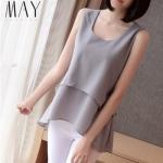 (Pre-Order) เสื้อชีฟองแขนสั้น สีเงิน เสื้อผ้าลำลอง สบาย ๆ แต่ดูดีมาก แฟชั่นเสื้อเวอร์ชั่นเกาหลีปี 2014