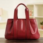 (Pre-order) กระเป๋าสะพายหนังแท้แบบเรียบหรู แฟชั่นกระเป๋าถือ กระเป๋าสะพายสไตล์ยุโรป อเมริกา สีแดงเบอร์กันดี