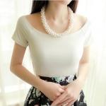 (Pre-Order) เสื้อยืดลำลองคอกว้าง เสื้อยืดผ้าฝ้าย modal สีขาวนวล