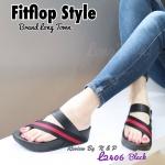 รองเท้าส้นเตารีด style fitflop แบบสวมนิ้วโป้ง หน้าไขว้สีทูโทน พื้นนิ่ม น้ำหนักเบา ใส่เดินสบาย